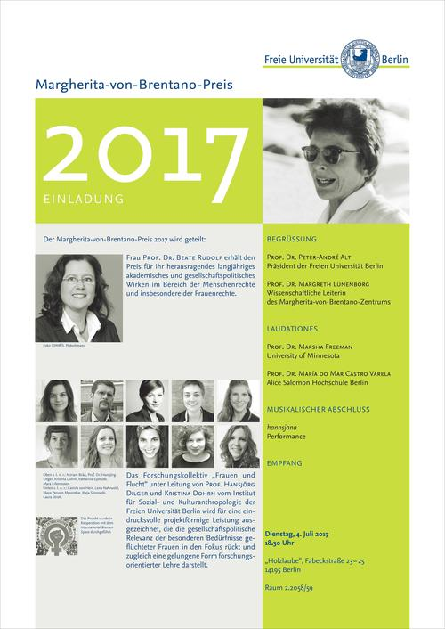 Award ceremony of Margherita von Brentano Prize 2017